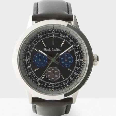 ポールスミス黒革ベルト時計
