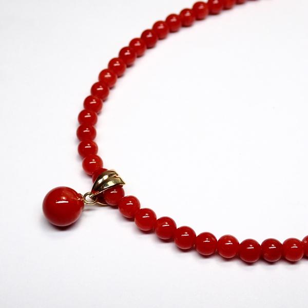 K18天然血赤本珊瑚ネックレス