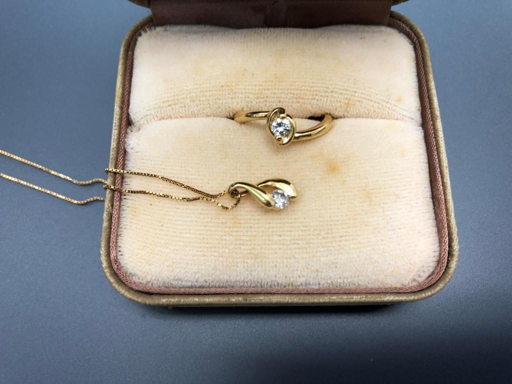 K18ダイヤリング&ネックレス
