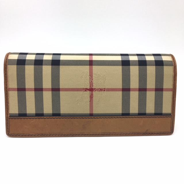 BURBERRY バーバリー ウォレット チェック キャンバス×レザー二つ折り長財布 イタリア製