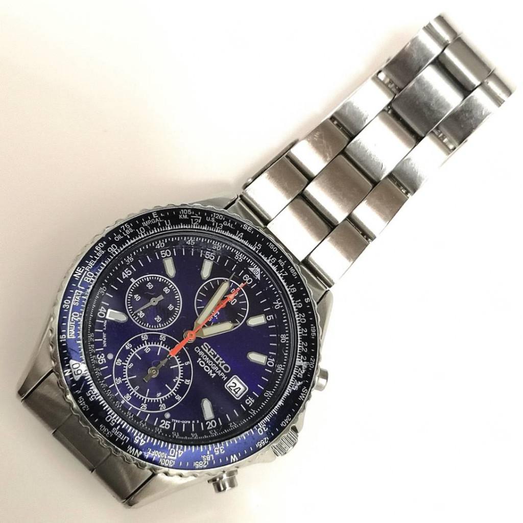 SEIKO パイロット クロノグラフ デイト ブルー文字盤 SS メンズ QZ クウォーツ 腕時計 アナログ ストップウォッチ 防水
