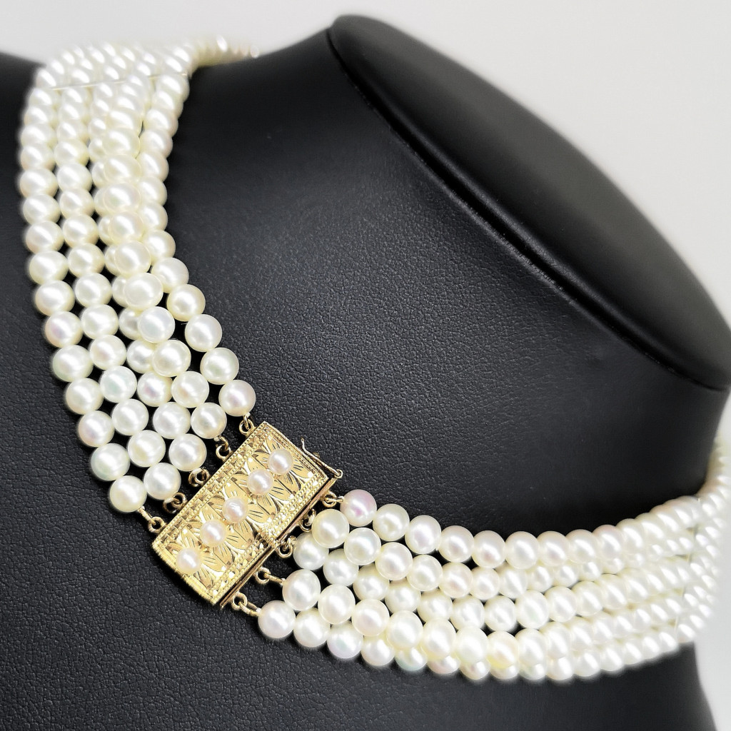 K18 本真珠 5連 ネックレス パール レディース カラーストーン 色石 宝飾品 装飾品 首飾り