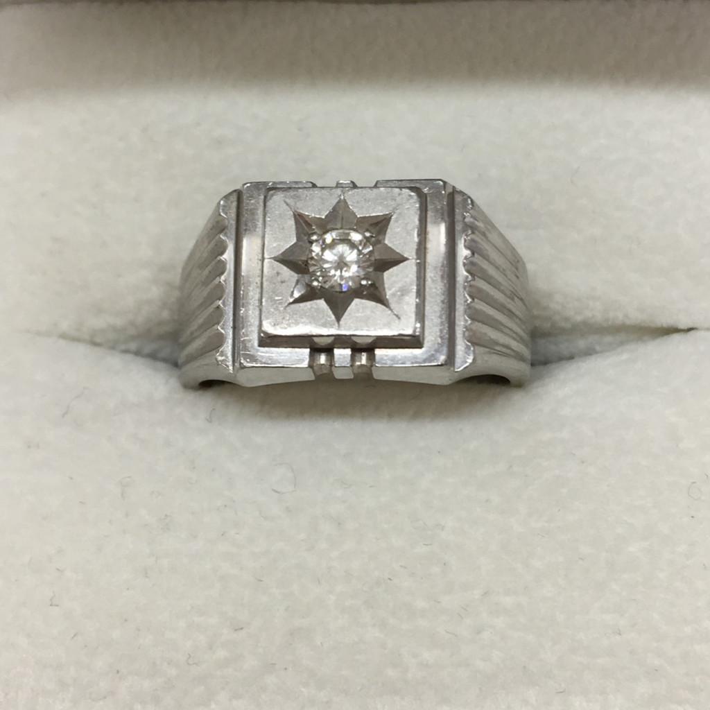Pt900 ダイヤモンド 0.19ct 印台リング