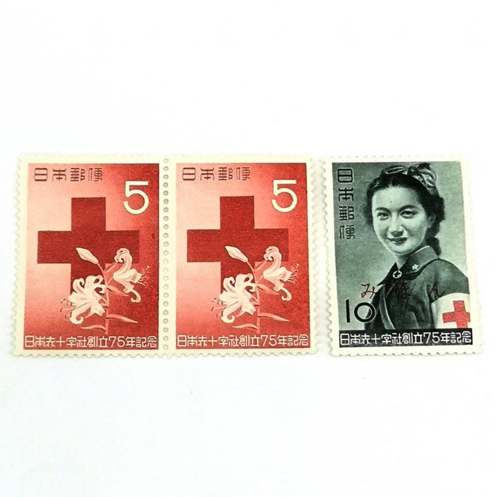 看護婦協会 「看護婦」 「赤十字とヤマユリ」 未使用 見本切手 5円 10円 宮本 三郎 1952年 バラ切手 日本郵政