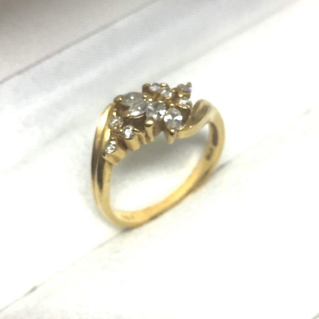 K18の指輪メレダイヤモンド0.3ct