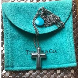 ティファニー K18WG ダイヤ付き クロス ネックレス