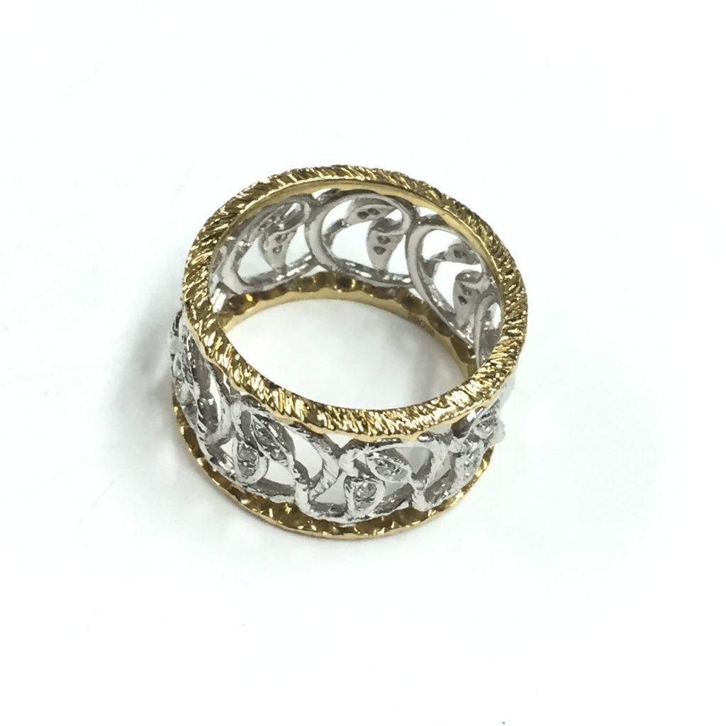 K18Pt850コンビの指輪メレダイヤモンド0.3ct