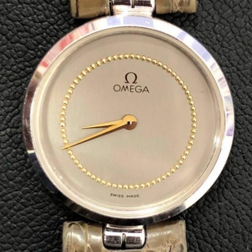 OMEGA クオーツ時計 稼働品 純正ベルト オメガ 18K 750 サファイアガラス ブランド メンズ 須坂市