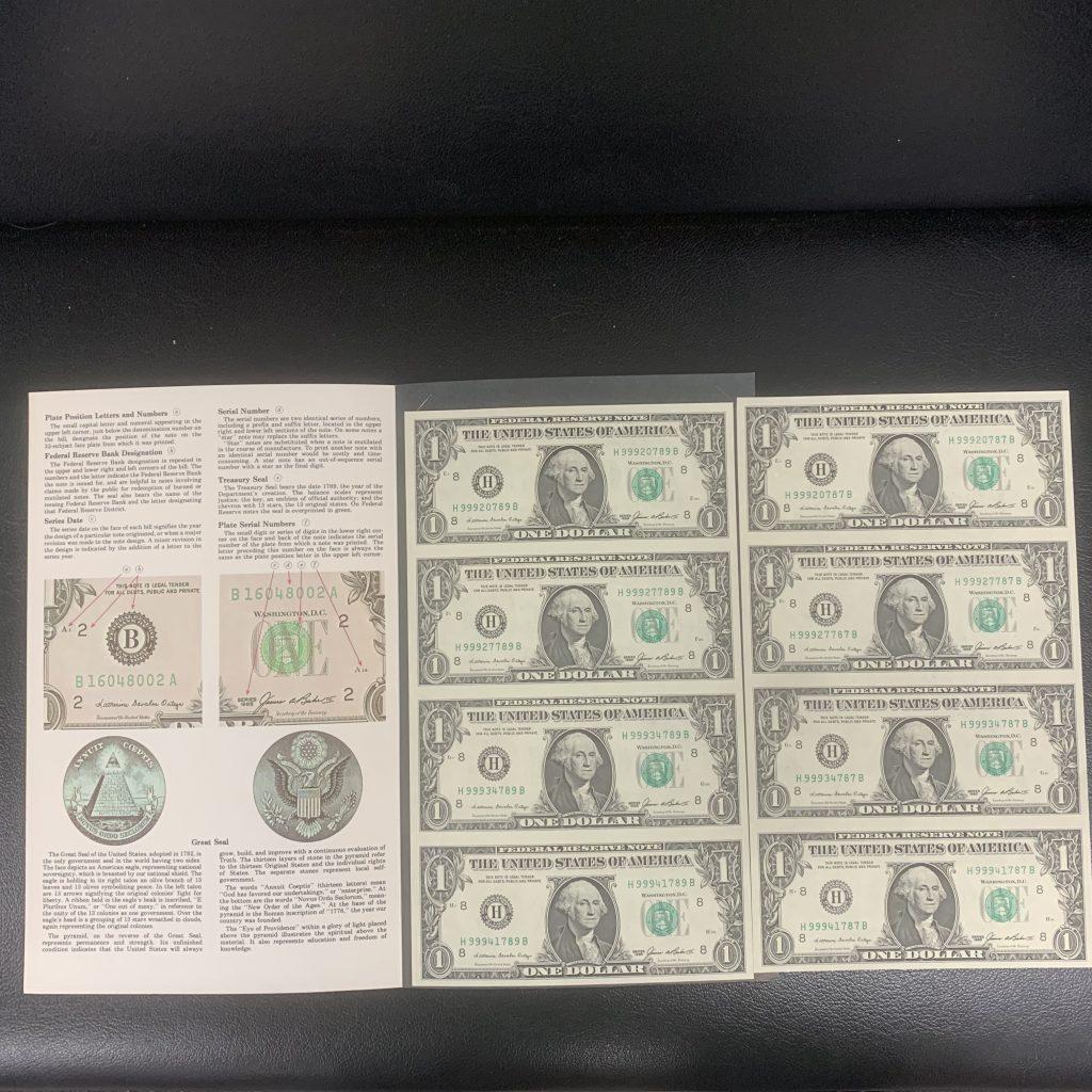 アメリカ 1ドル紙幣 シート