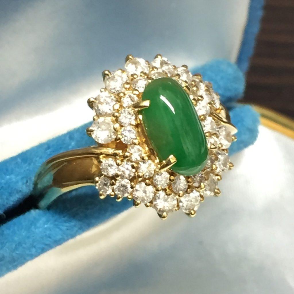 K18リング翡翠メレダイヤモンド指輪