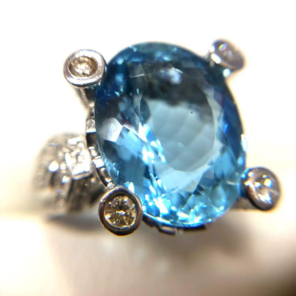 アクアマリン12.42ct ダイヤモンド1.16ct プラチナリング