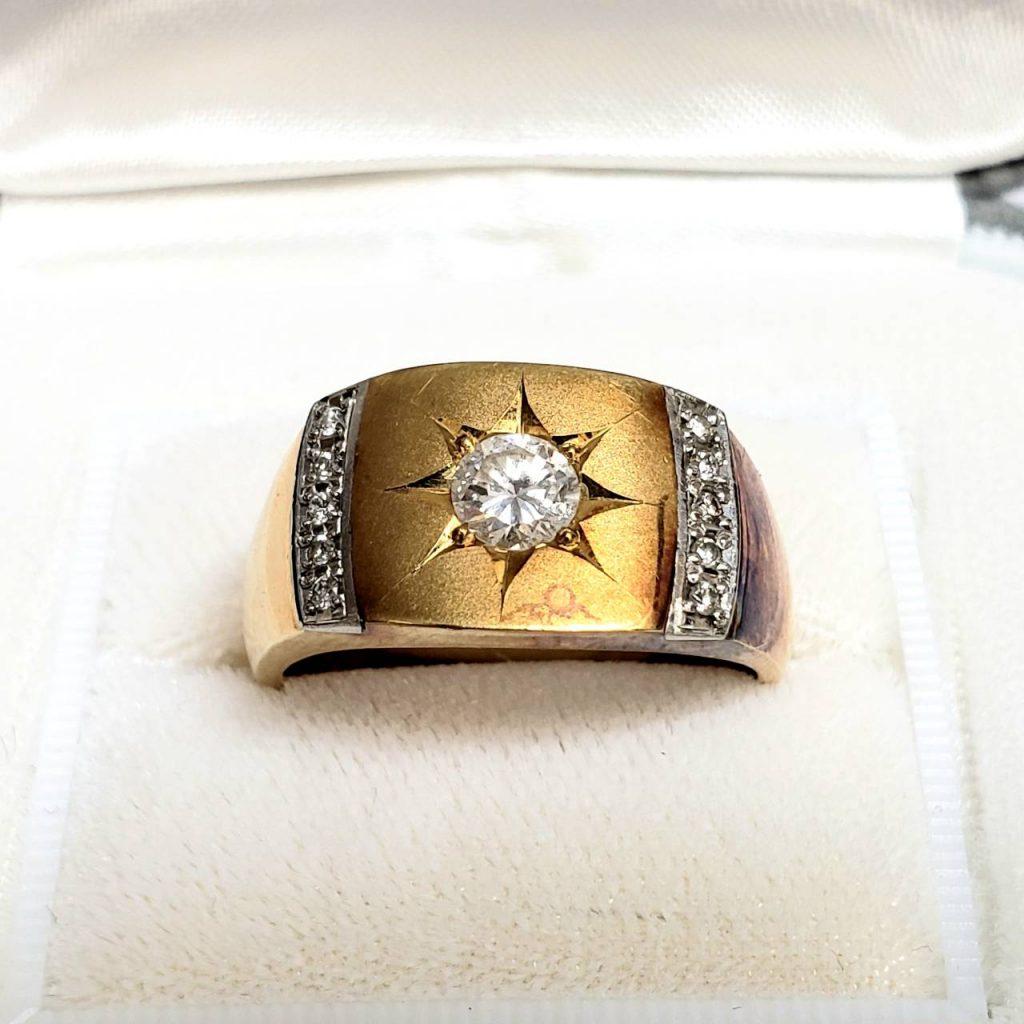 K18/Pt900 ダイヤモンド付リング