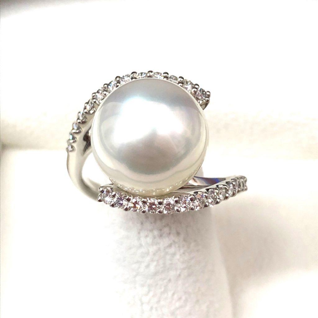Pt900 パールダイヤモンドリング
