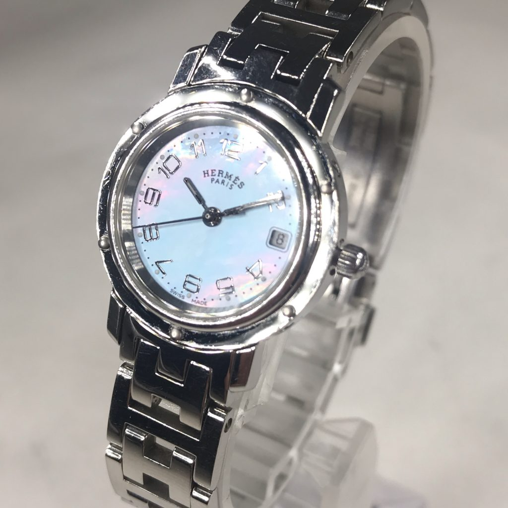 HERMES クリッパー ブルーシェル文字盤 レディース 腕時計