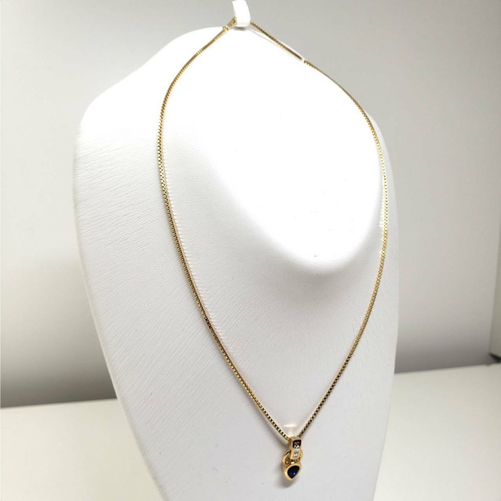 K18 サファイヤ メレダイヤ付き ネックレス