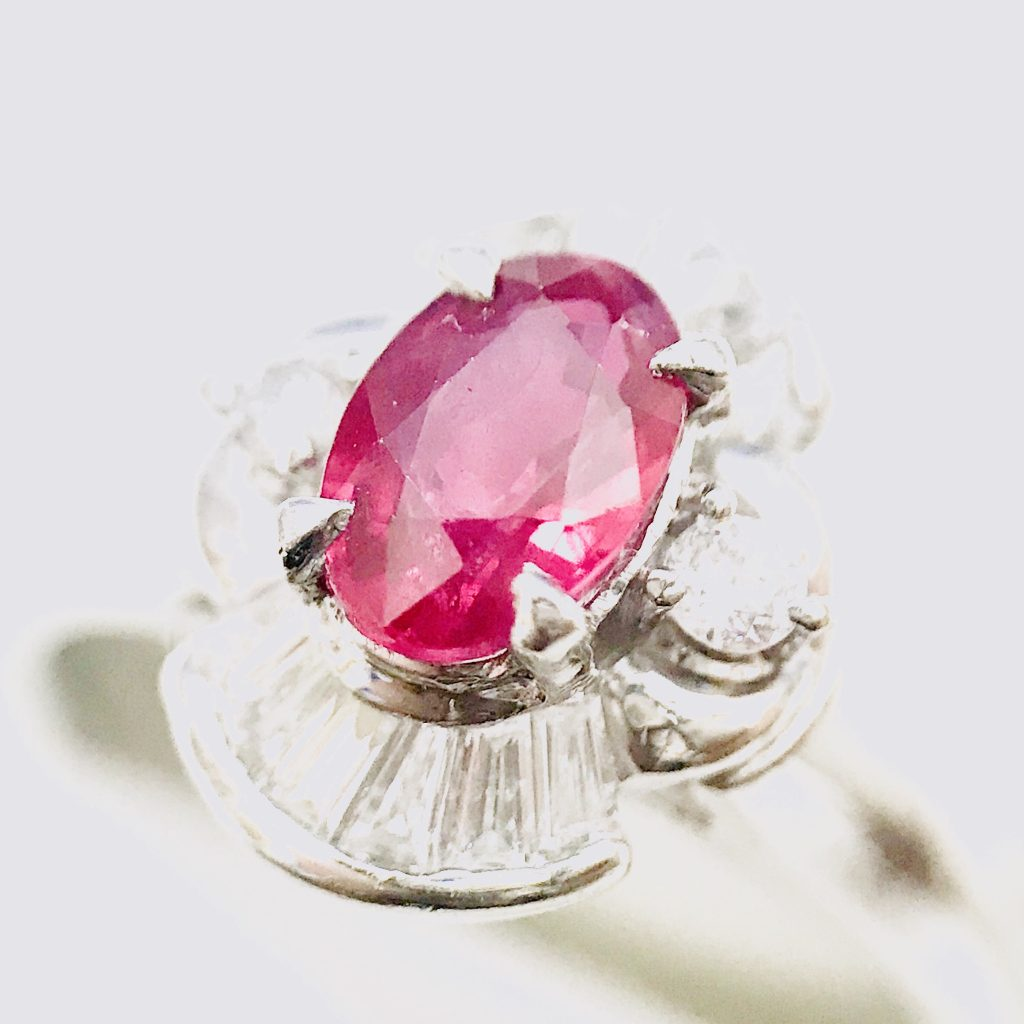 Pt900 ルビー メレダイヤモンド プラチナリング