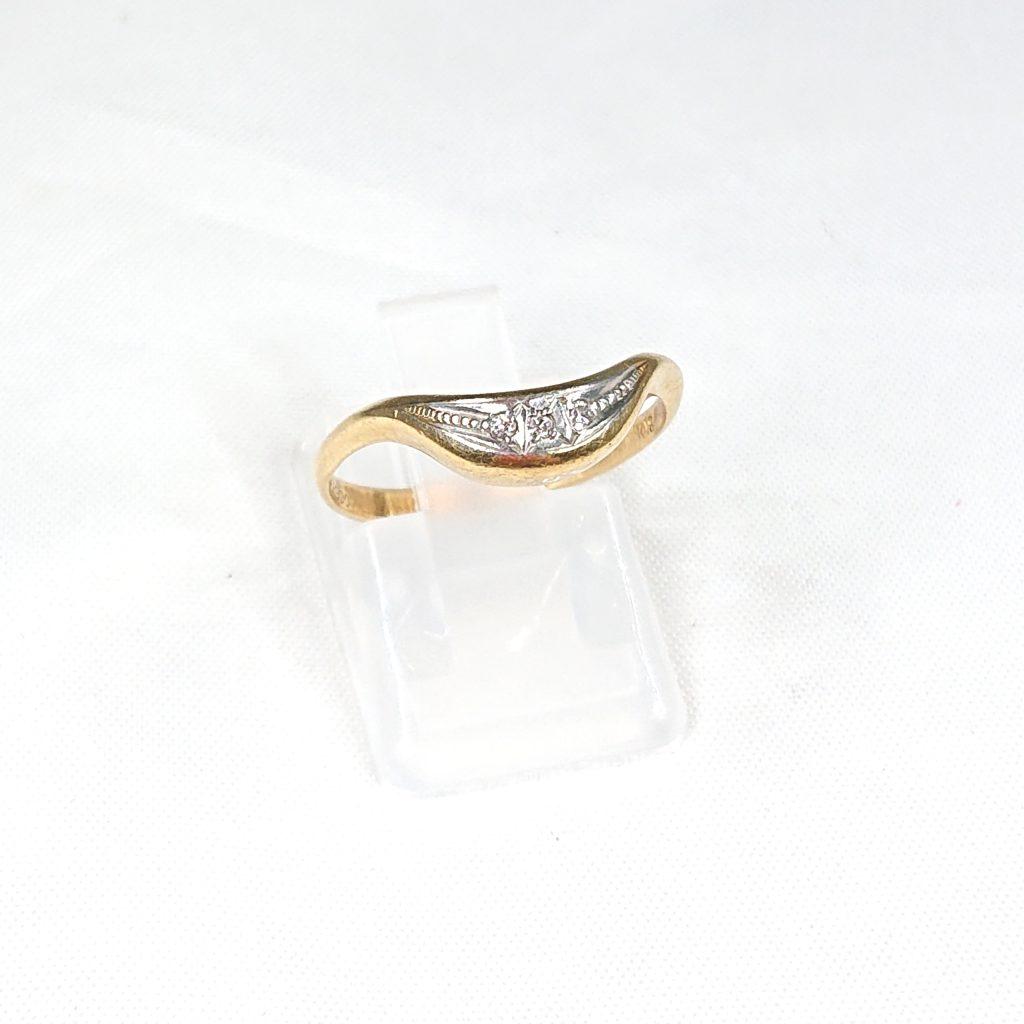 K18/pt900 ダイヤモンド(0.06ct)付リング