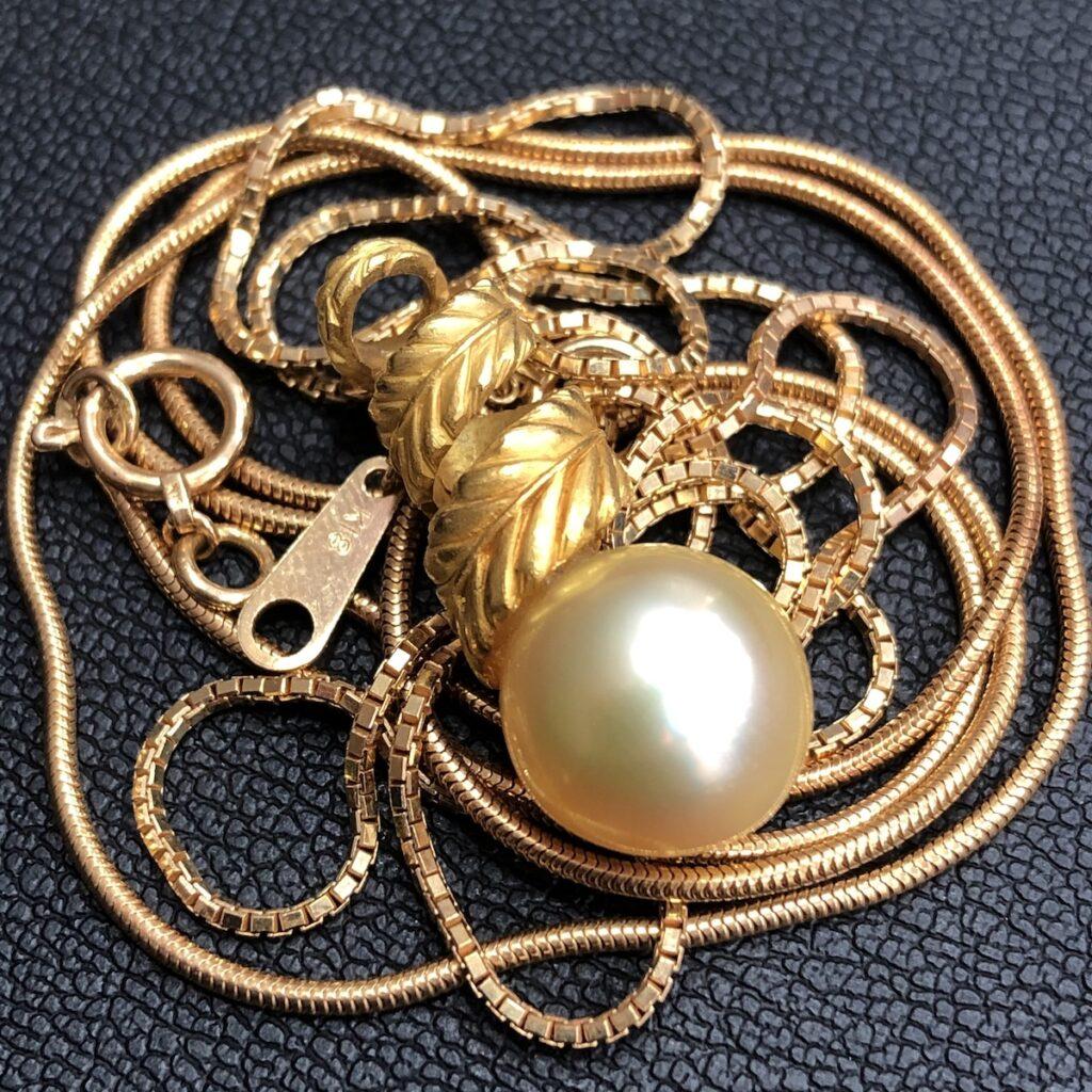 K18ネックレス トップ真珠