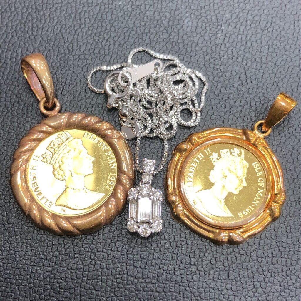 K18 K18WG コイン ネックレス