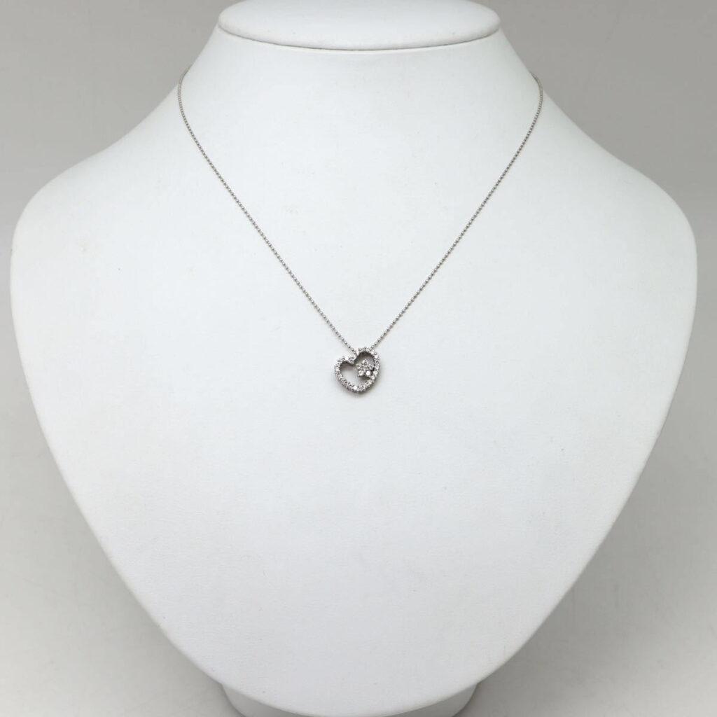 K18WG 天然ダイヤモンドネックレス 0.37ct