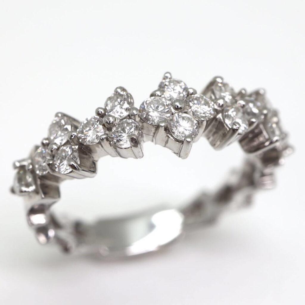K18WG 天然ダイヤモンドリング 0.54ct K18WG