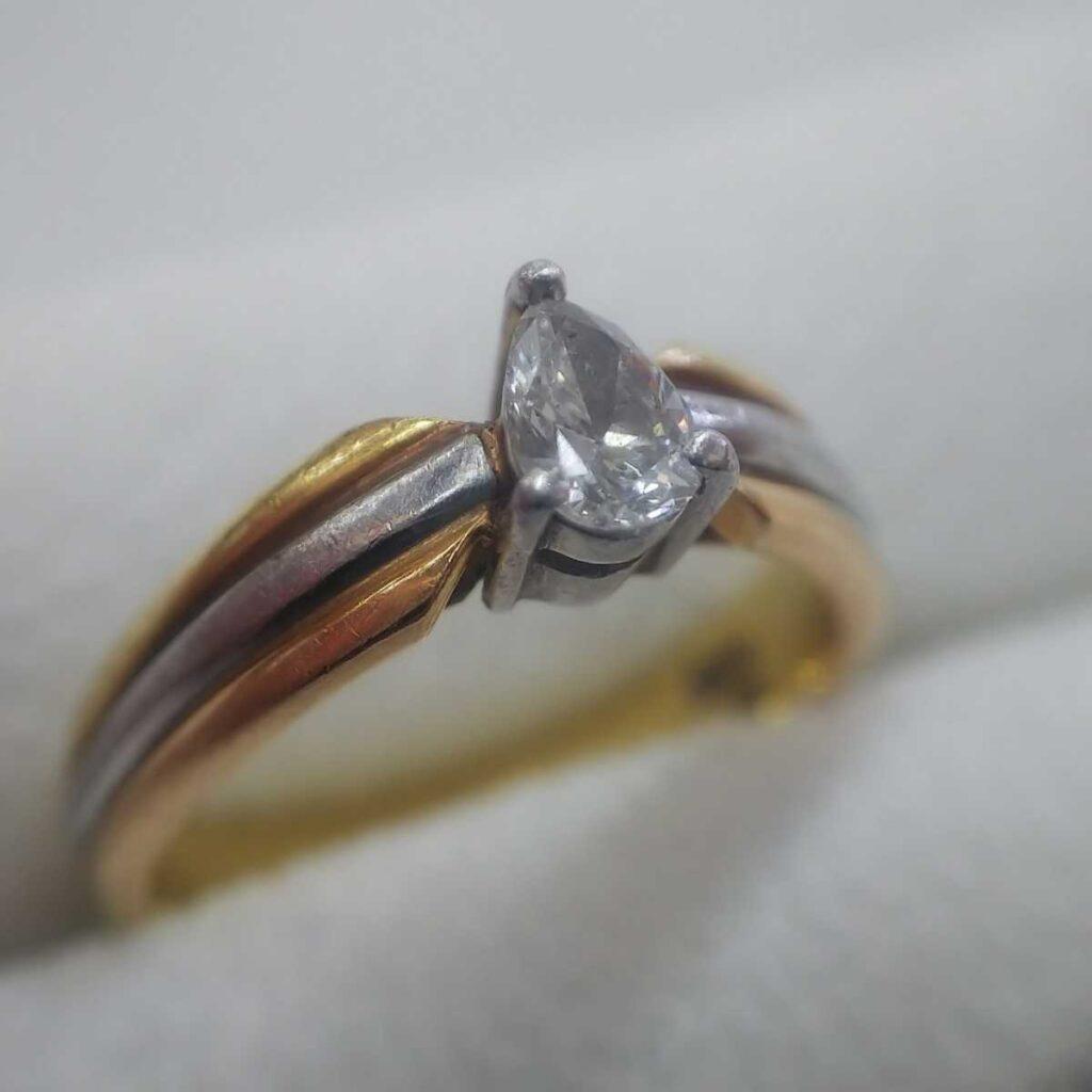 K18Pt900ダイヤモンドリング