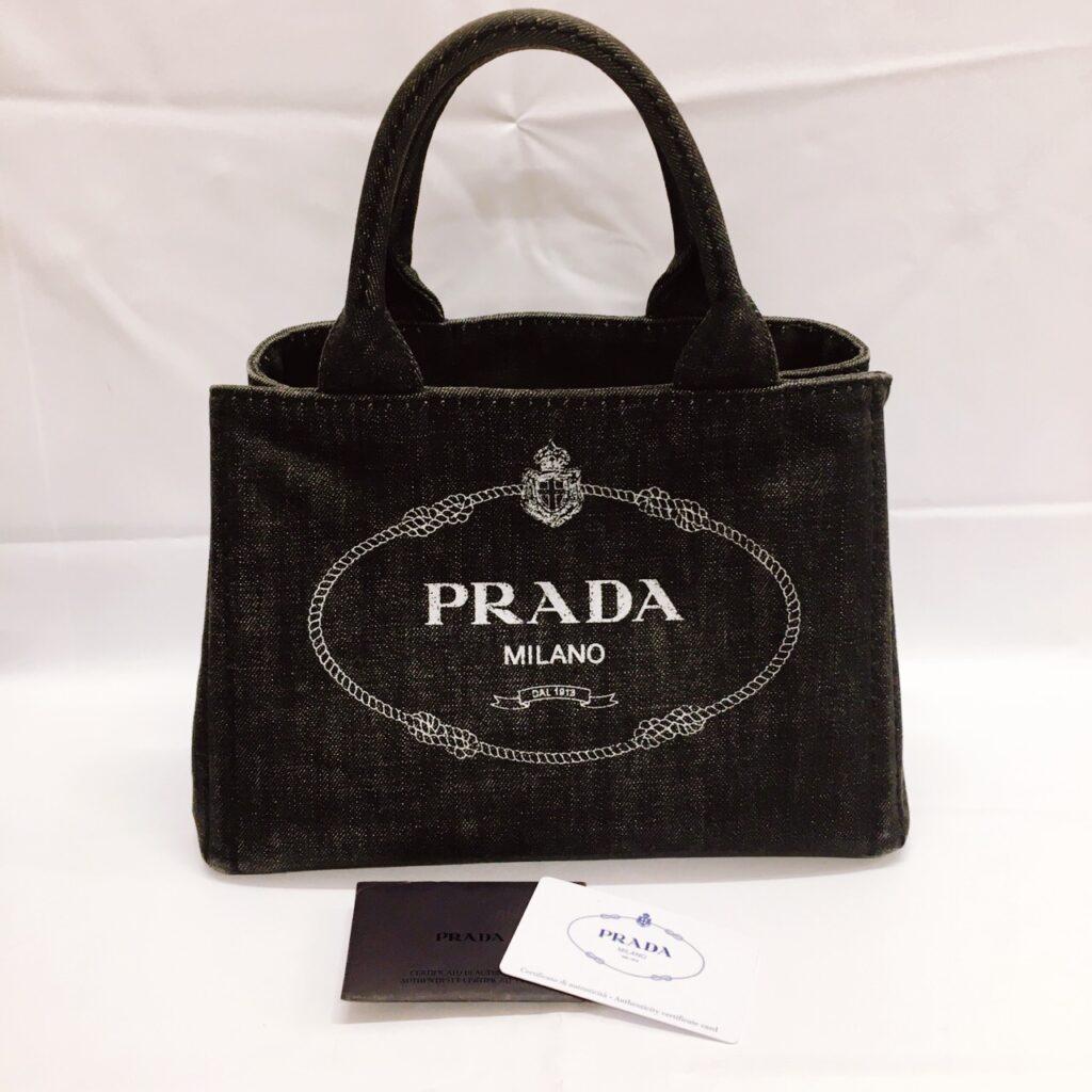 プラダ カナパ デニム ハンドバッグ