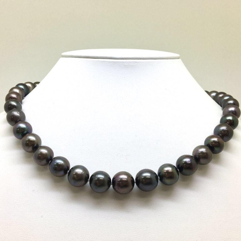 南洋黒蝶真珠ネックレス 約9.20~12.50mm珠
