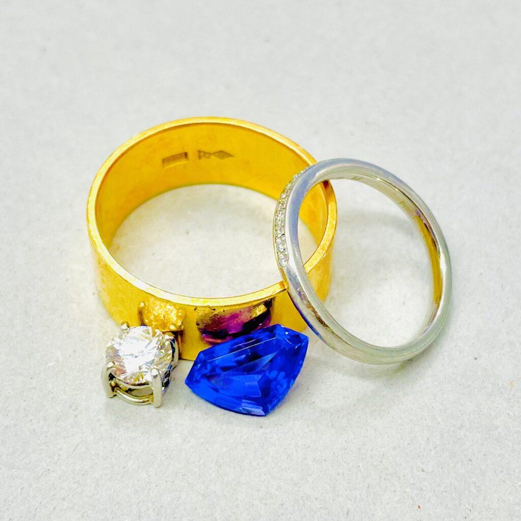 K18 Pt950 ダイヤモンド タンザナイト リング トップ ルース 宝石 おまとめ