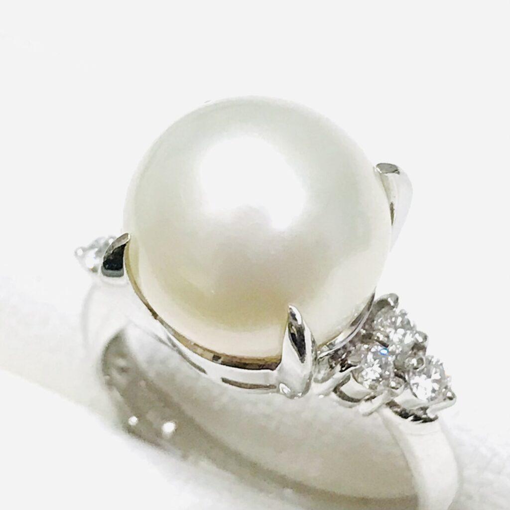 Pt900 パール メレダイヤモンドリング
