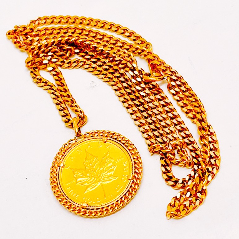 K24/K18 メイプルリーフ金貨付き ネックレス