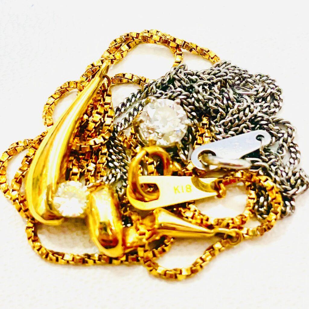 K18 Pt850 ネックレス ダイヤモンド アクセサリー