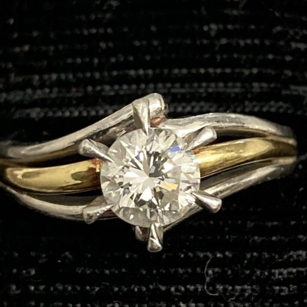 ダイヤモンド リング K18 Pt850 ハーフ コンビ