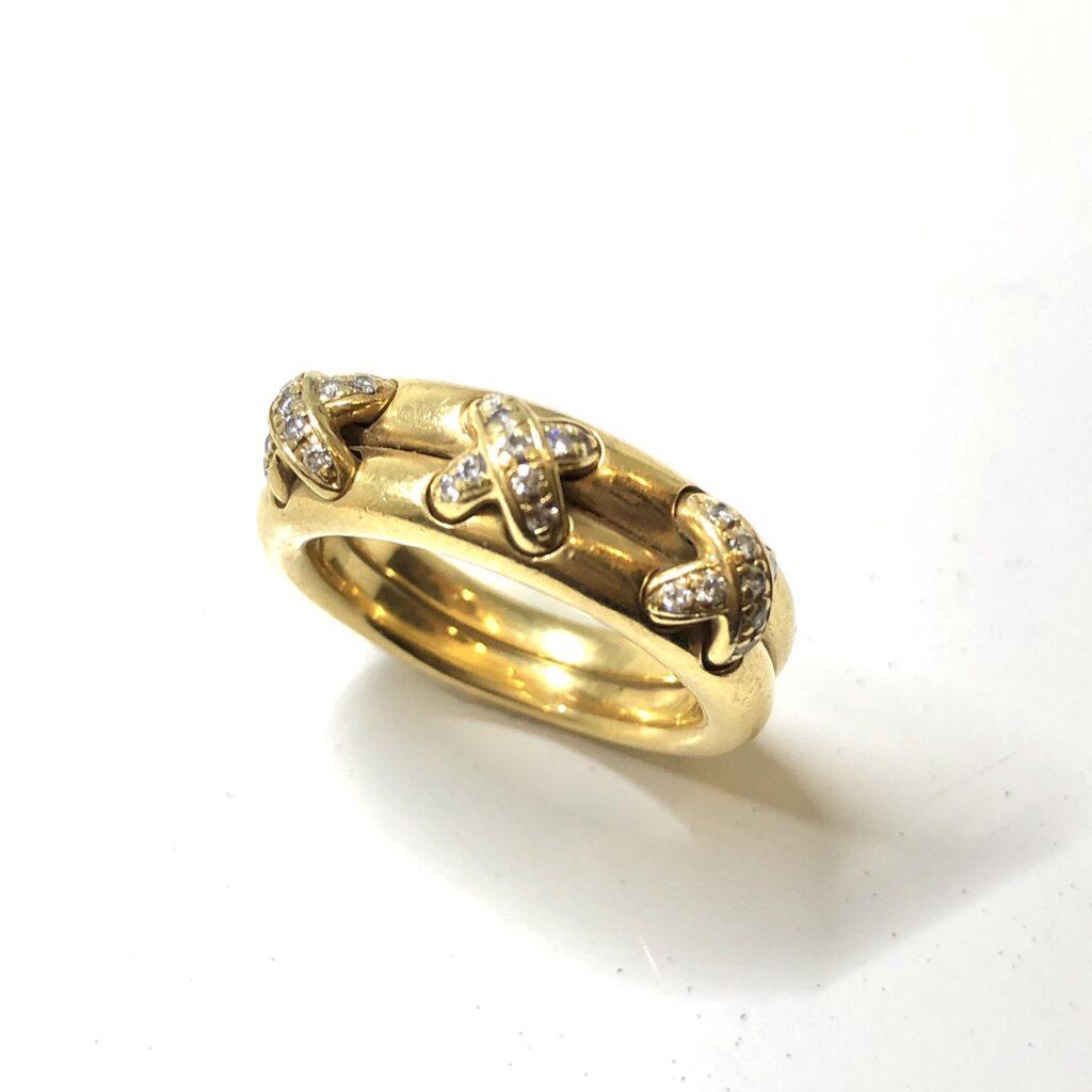 CHAUMET K18メレダイヤ付きリング