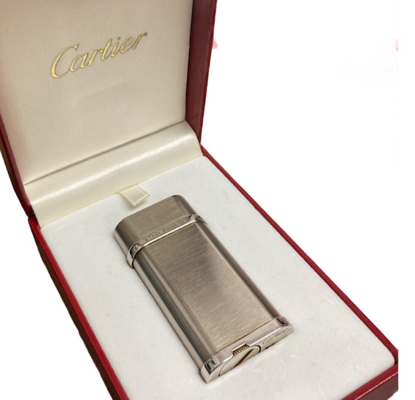 Cartier カルティエ ガスライター ロゴ入り スティールフィニッシュシルバー