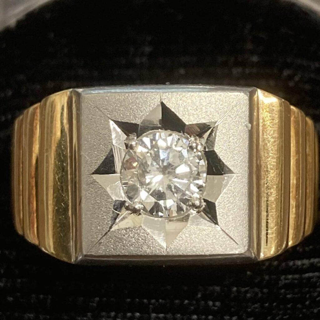 K18 リング Pt900 ハーフ コンビ 金ベース ダイヤモンド 指輪 印台
