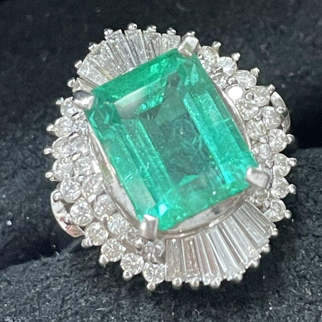 Pt900 エメラルド3.16ct ダイヤモンド 0.90ct リング