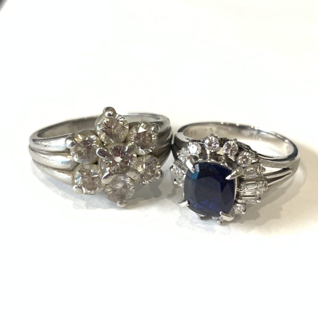 プラチナ リング ダイヤモンド  サファイヤ