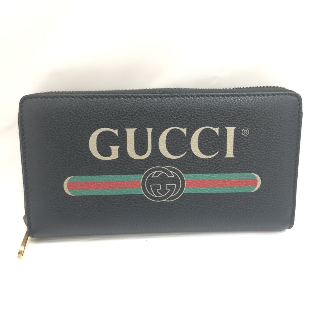 GUCCI グッチ ロゴプリント ラウンドファスナー 長財布 496317