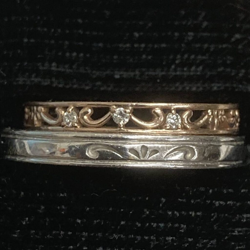 K10 ペア リング メレ ダイヤモンド アクセサリー 指輪 10金 ペアリング