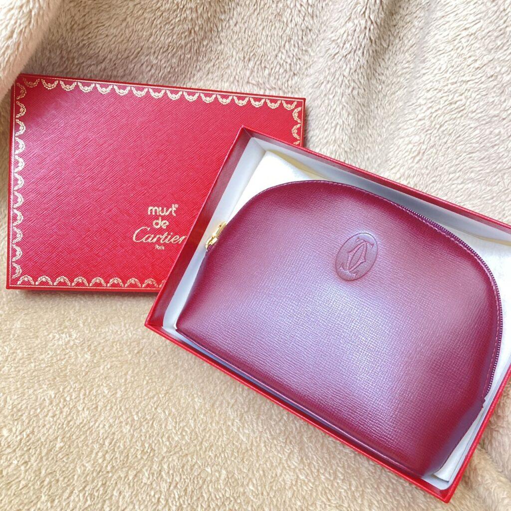 Cartier カルティエ マストライン ボルドー 化粧ポーチ