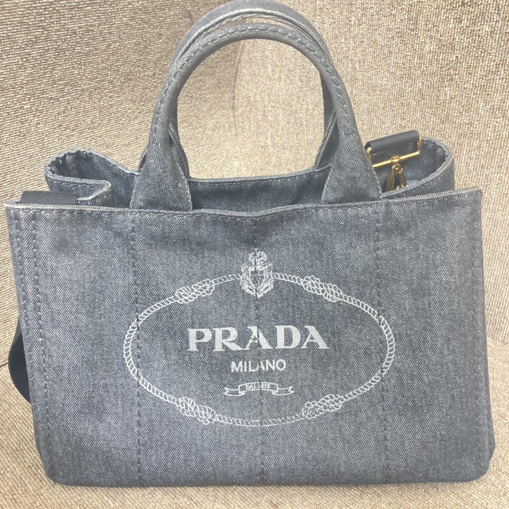PRADA プラダ カナパ デニム ハンドバッグ