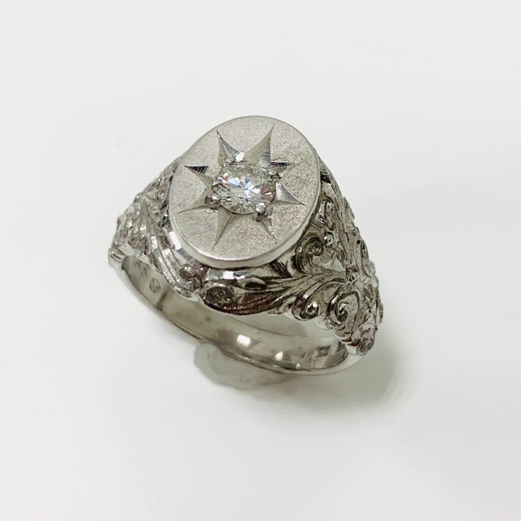 Pt900 ダイヤモンド付リング