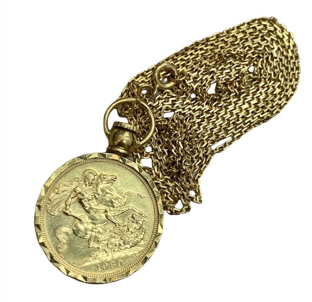 K18ソブリン金貨 ネックレス