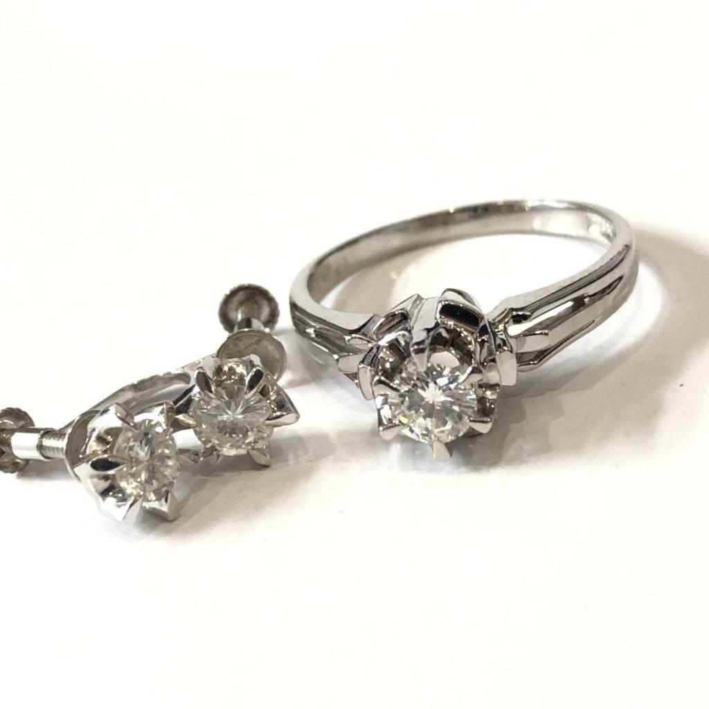 プラチナ ダイヤモンド リング&イヤリング